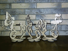 CNC Laser Cut Design Girl And Butterfly Stand CDR File