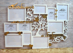 CNC Laser Cut Family Tree Photo Frame Free CDR File