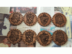 CNC Laser Cut Harry Potter Cup Holders Coasters CDR File