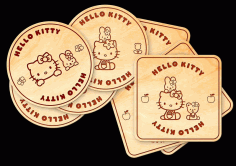 CNC Laser Cut Hello Kitty Coasters with Holder Box CDR File