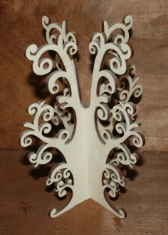 CNC Laser Cut Jewelry Tree Stand Earring Necklace Tree Holder Organizer Free CDR File
