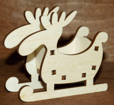 CNC Laser Cut Moose Sleigh Christmas Ornament Free CDR File