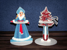 CNC Laser Cut Napkin Holder Snow Maiden Christmas Tree Vector CDR File