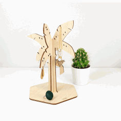 CNC Laser Cut Palm Tree Jewellery Stand Free CDR File