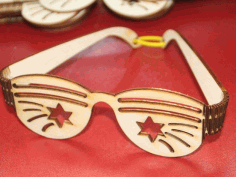 CNC Laser Cut Party Sunglasses Plywood Free CDR File
