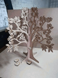 CNC Laser Cut Signature Tree Wedding Guest Book Free CDR File