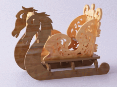 CNC Laser Cut Sleigh Christmas Ornaments Vector CDR File
