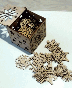 CNC Laser Cut Snowflakes Christmas Tree Decoration Box Free CDR File