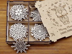 CNC Laser Cut Snowflakes On Christmas Tree Vector CDR File