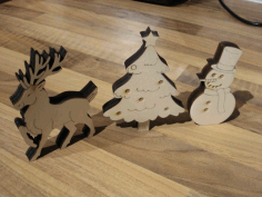CNC Laser Cut Snowman Christmas Ornaments Free CDR File