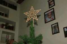 CNC Laser Cut Star On Christmas Tree New Year Free CDR File