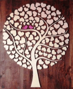 CNC Laser Cut Tree of Hearts CDR File