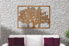 CNC Laser Cut Tree Of Life 3 Panel Wood Wall Art Free CDR File