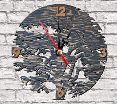 CNC Laser Cut Tree Wall Clock Free CDR File