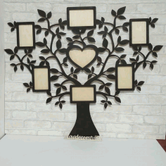CNC Laser Cut Tree with 7 Photo Frames Free CDR File
