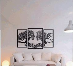 CNC Laser Cut Wall Art Tree Couple Face Shape Free CDR File