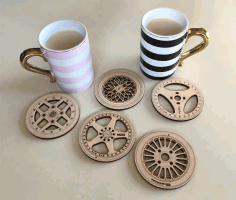 CNC Laser Cut Wheel Coasters CDR File
