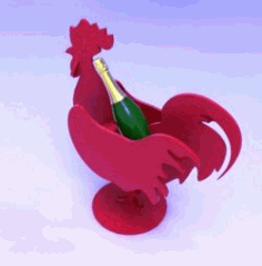 CNC Laser Cut Wine Bottle Holder Rooster CDR File