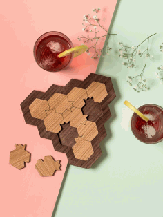 CNC Laser Cut Wood Coasters CDR File