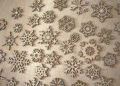 CNC Laser Cut Wood Snowflake Ornaments Vector CDR File