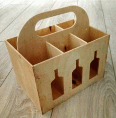 CNC Laser Cut Wooden Box Six Wine CDR File