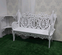 CNC Laser Cut Wooden Decorative Bench 21mm Free CDR File