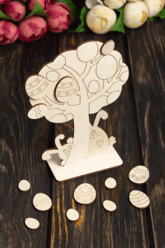 CNC Laser Cut Wooden Easter Tree Decoration Wooden Easter Eggs Free CDR File