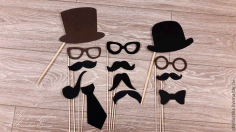 CNC Laser Cut Wooden Mustache Hat Glasses On Stick Free CDR File