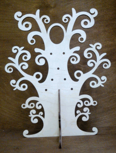 CNC Laser Cut Wooden Tree Jewellery Stand Free CDR File