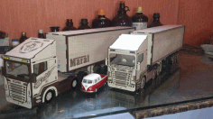 Container Truck Wood Model Toy Kit Laser Cut Free CDR File
