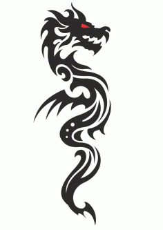 Cool Tribal Dragon Tattoo Design Vector free CDR Vectors File