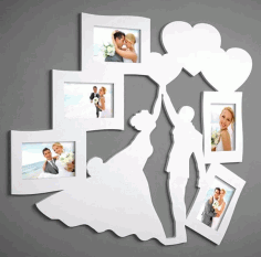 Couple Photo Frame CNC Laser Cutting Free CDR Vectors File