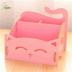 Cute Cat Desktop Storage Box Organizer Pen Holder Laser Cut Free CDR File