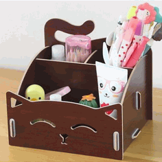 Cute Cat Wooden Storage Box Office Desktop Cosmetic Organizer Free Vector CDR File