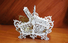 Decorative Candy Basket Laser Cut DXF File