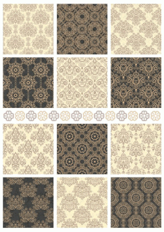 Decorative Damask Seamless Patterns Laser Cut Free CDR File