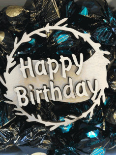 Decorative Happy Birthday Topper Laser Cut Design CDR File