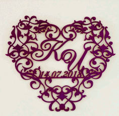 Decorative Heart Wedding Monogram Free Vector CDR File