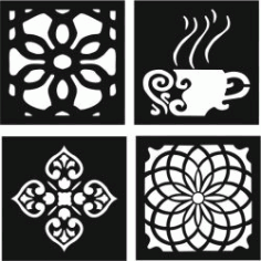 Decorative Motifs of Flower Squares And Coffee Cups for Laser Cut DXF File