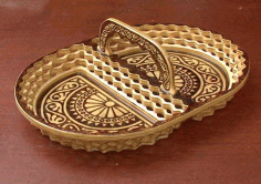 Decorative Plate Basket with Handle Laser Cut CDR File