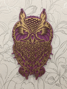 Decorative Plywood Owl Laser Cut Free CDR File