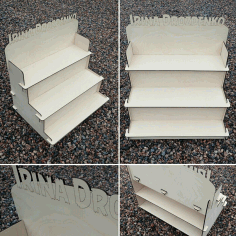 Decorative Stair Step Shelf Organizer 6mm Laser Cut Free CDR File