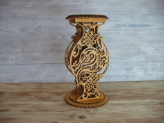 Decorative Vase Wooden Flower Stand Free Vector CDR File