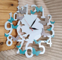 Decorative Wall Clock With Butterflies Laser Cut CDR File