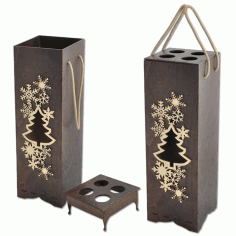 Decorative Wine Bottle Packaging Gift Boxes Design Laser Cut CDR File
