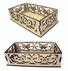 Decorative Wooden Basket Laser Cut DXF File