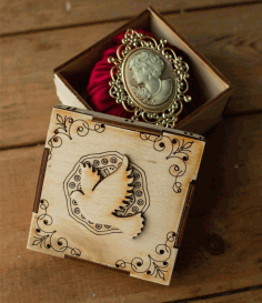 Decorative Wooden Jewelry Box Laser Cut Free CDR File