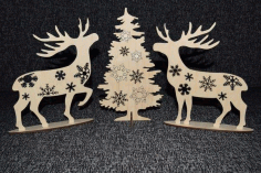 Deer At Christmas Tree CNC Laser Cutting Plans CNC File Vector CDR File