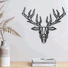 Deer Geometric Polygonal Modern Decor Animal Wall Art Laser Cut DXF File