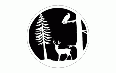 Deer Tree and Bird Silhouette DXF Vectors File